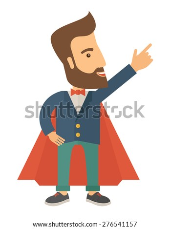 Superhero man pointing upward aiming higher sales in business. Business growth. A Contemporary style. Vector flat design illustration isolated white background. Vertical layout. - stock vector