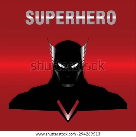 superhero. metallic winged head superhero with the black costume, isolated on the red metallic background. elegant superhero silhouette compose with text. half body of superhero combine with text. - stock vector