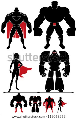 Superhero Silhouette: 4 different superhero silhouettes in 2 versions each. - stock vector