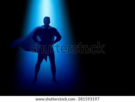 Superhero standing under the blue light - stock vector