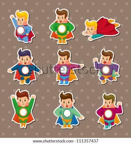 superhero stickers - stock vector