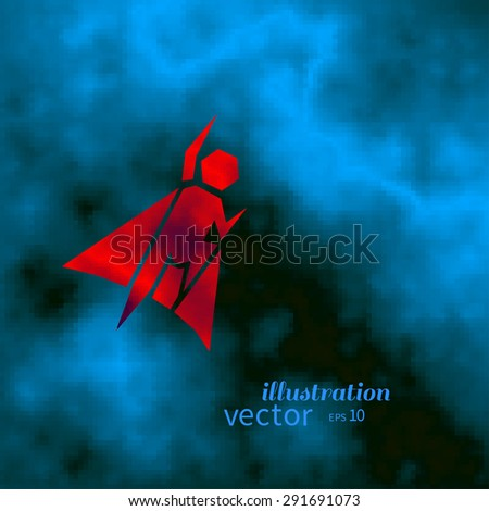 Superhero symbol over dark blue sky with clouds, vector abstract background or logo design. - stock vector