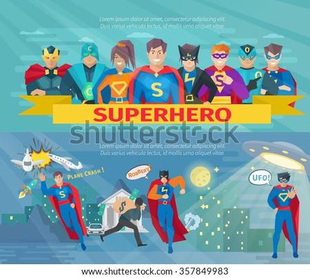 Superhero team horizontal banners set with saving the world symbols flat isolated vector illustration  - stock vector