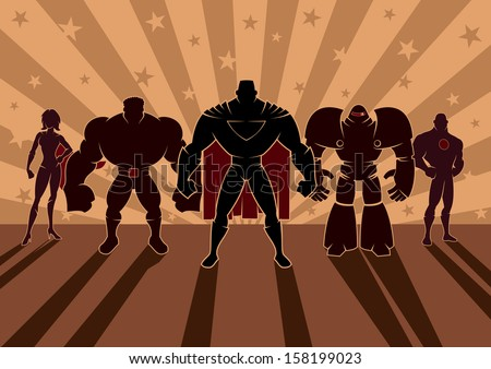 Superhero Team: Team of superheroes. No transparency and gradients used. - stock vector