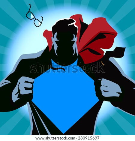 Superhero tearing his shirt. Vector illustration. Silhouette - stock vector