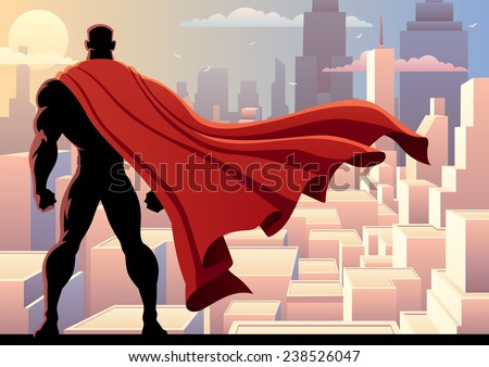 Superhero Watch 2: Superhero watching over city. No transparency used. Basic (linear) gradients. A4 proportions. - stock vector
