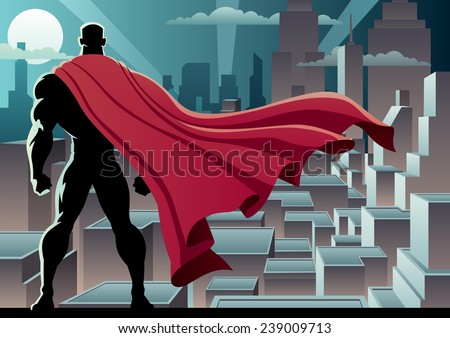 Superhero Watch 3: Superhero watching over city. No transparency used. Basic (linear) gradients. A4 proportions. - stock vector