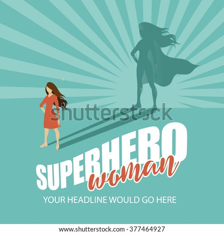 Superhero woman burst background EPS 10 vector - stock vector