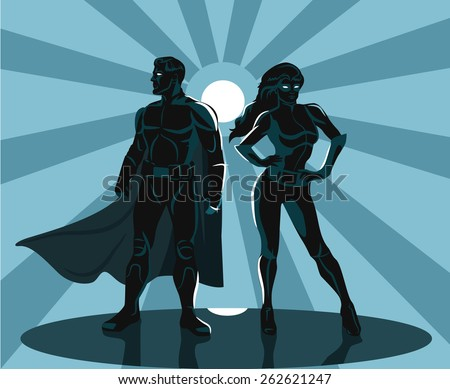 Superheroes silhouette vector illustration  - stock vector