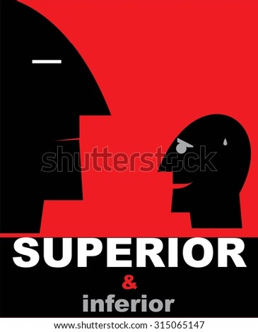 superior and inferior.simple flat design of superior and inferior person.simple human heads silhouette showing the dominant person and inferior one on red background. anxiety. Domination. Dominated.   - stock vector