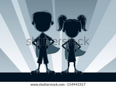 Superkids Silhouettes: Boy and girl superheroes, posing in front of light. No transparency used. Basic (linear) gradients used for the background. A4 proportions. - stock vector