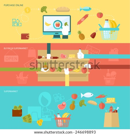 Supermarket banner flat set with online purchase buying elements isolated vector illustration - stock vector