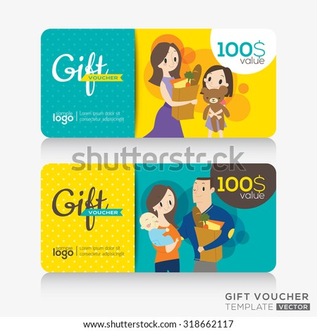 supermarket coupon voucher or gift card design template with illustration of customers holding a shopping bag - stock vector