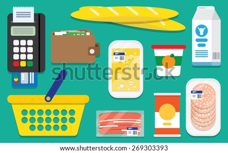 Supermarket design concept set with foodstuff online purchase buy flat icons isolated vector illustration - stock vector