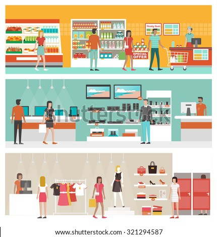 Supermarket, electronics store and clothing shop banner set with people shopping and buying products on shelves - stock vector