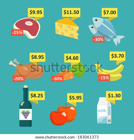 Supermarket food and drink selection icons set with price tags and discount labels flat vector illustration - stock vector