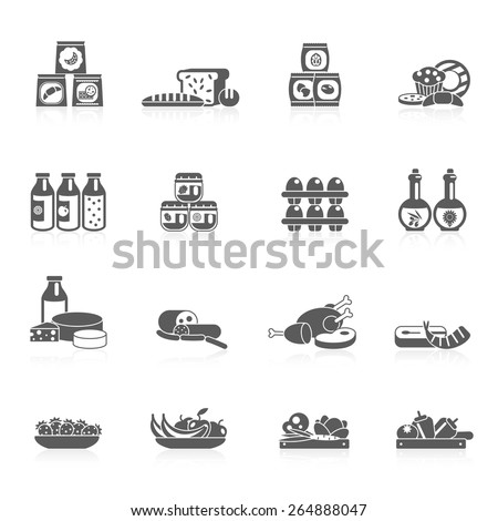 Supermarket food grocery market icons black set with sweets fish fruits isolated vector illustration - stock vector