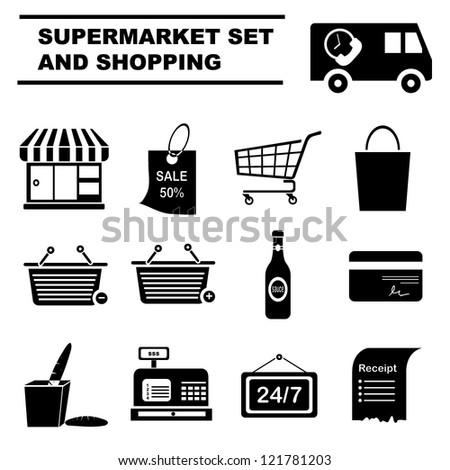 supermarket icon set and shopping set - stock vector