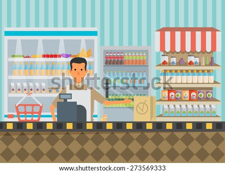 Supermarket in flat design. - stock vector
