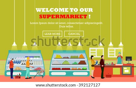 Supermarket interior vector illustration in flat style. Customers buy products in food store. Groceries and foodstuff on shelves. People shopping. - stock vector