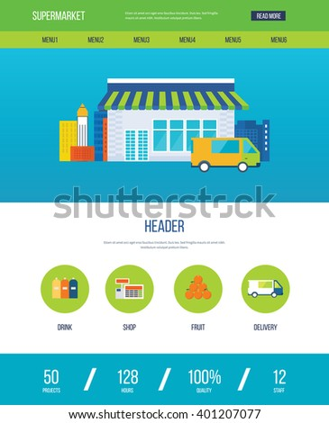 Supermarket store concept with food assortment, opening hours and payment options, delivery icons illustration vector. One page web design template - stock vector