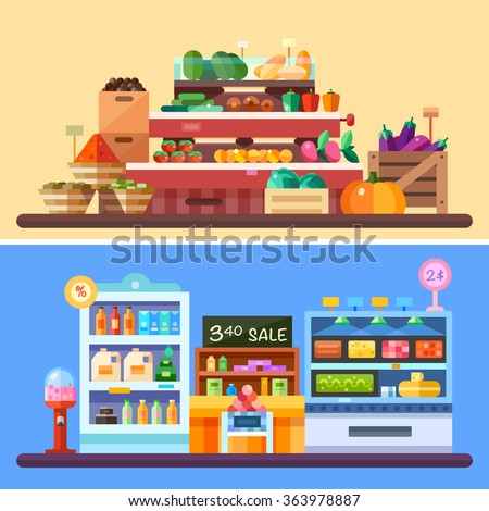 Supermarket store indoor with goods: vegetables pumpkin, spices, tomatoes, eggplant, candies, drinks, pepper, dairy products cheese. Sale badges, store shelves, crates. Flat vector illustrations. - stock vector