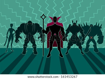 Supervillain Team: Team of superheroes. No transparency and gradients used. - stock vector