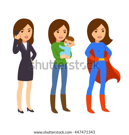Superwoman concept. Mom with baby, businesswoman on phone and in superhero costume. Funny life and work balance illustration. - stock vector