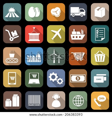 Supply chain flat icons with long shadow, stock vector - stock vector