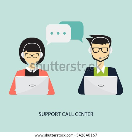 support call center, male and female with handset and laptop concept - stock vector