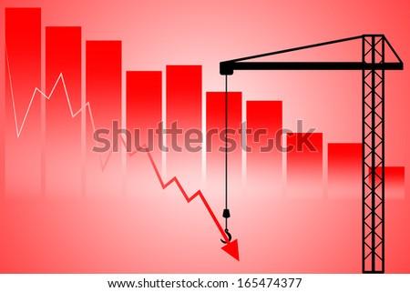 Support down stock market declines - stock vector