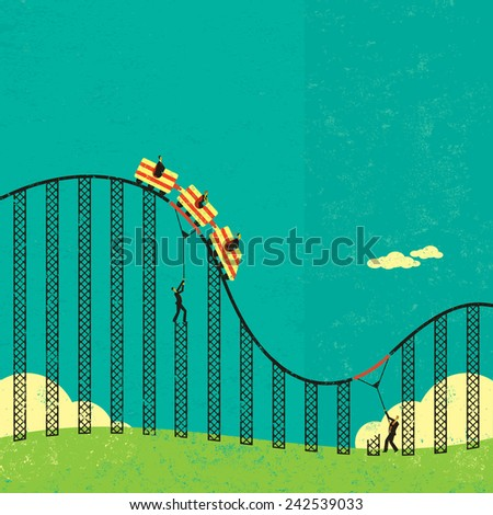 Support in a roller coaster economy - stock vector
