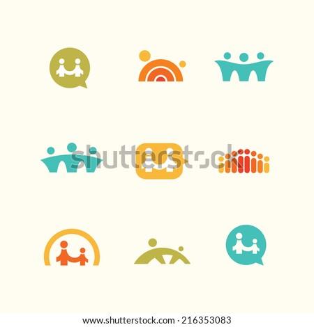 Support teamwork logo icons set - stock vector