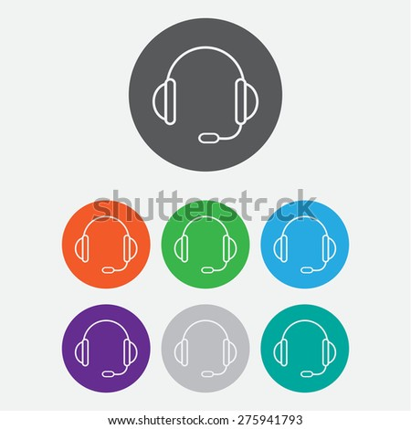 support vector icon.  headset.  Round buttons. Vector. - stock vector