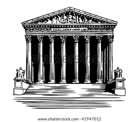 Supreme Court building in Washington, DC - stock vector