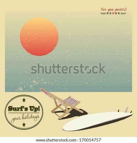 Surf and sun lounger on the beach, background in vintage style - stock vector