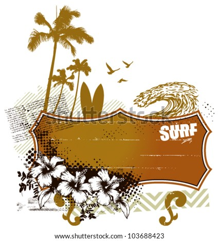 surf banner with summer scene - stock vector