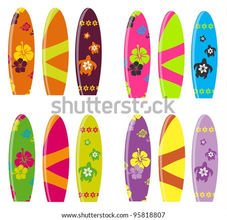 Surf Board Vector set - stock vector
