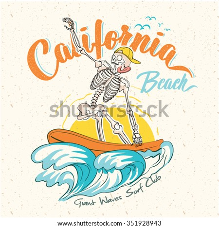 surf California Quality hand made tee Print graphic. Long beach surf story vector element. - stock vector