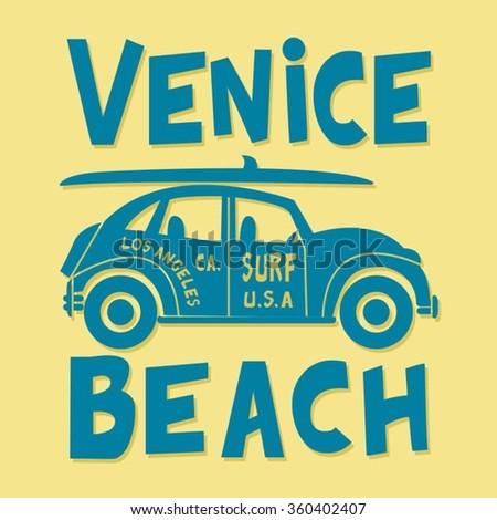 Surf car typography, t-shirt graphics, vectors - stock vector