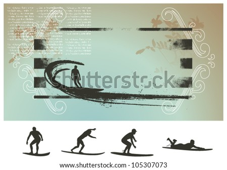 surf celestial background with big wave and rider - stock vector