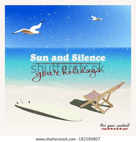 surf, chaise longues , sunshades and seagulls on the beach in vintage style - stock vector