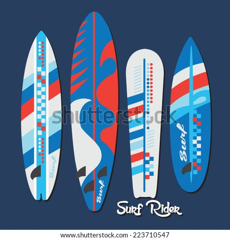 Surf elements, t-shirt graphics, retro, vectors,  - stock vector