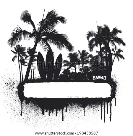 surf grunge beauty summer banner - stock vector