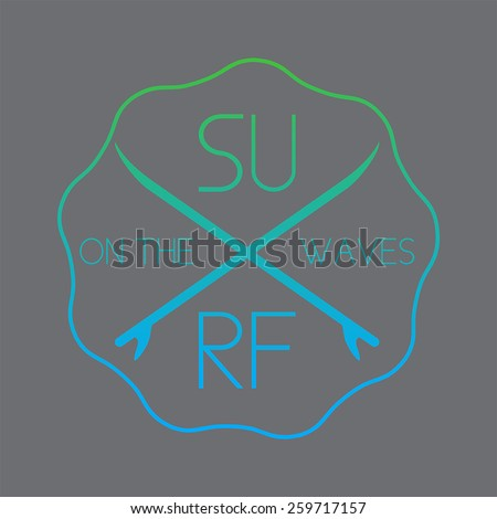 Surf illustration typography with green a blue gradient. Vector graphics of t-shirts. - stock vector