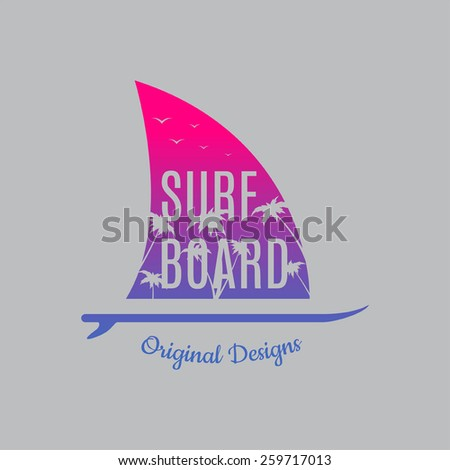 Surf illustration typography with pink and blue gradient and with shark's fin. Vector graphics of t-shirts. - stock vector