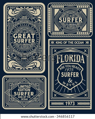 surf labels vector design - stock vector