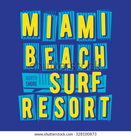 Surf miami typography, t-shirt graphics, vectors - stock vector