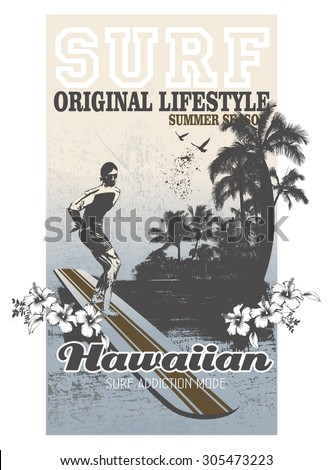 surf poster with rider and beach - stock vector