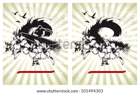 surf posters with big waves and flowers - stock vector